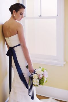 Style Me Pretty | E. Gilbert Photography - emilyrgilbert.com | #bride #sash 3ribbon #blue #gown #dress #pearls #nautical #preppy