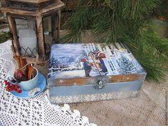 """Корзины, коробы ручной работы. Ярмарка Мастеров - ручная работа чайный короб """"Подготовка к Рождеству"""". Handmade."""