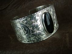 Sterling Silver engraved Bracelet with Black Onyx by DouglasSilver, $350.00