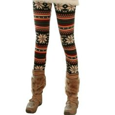 74330796c Rabbit Rachel Snowflake Christmas Pattern Winter Thick Warm Pantyhose  Leggings Ankle Length Leggings