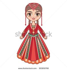 The doll in the Armenian national suit. Raster illustration on a white background. - stock photo