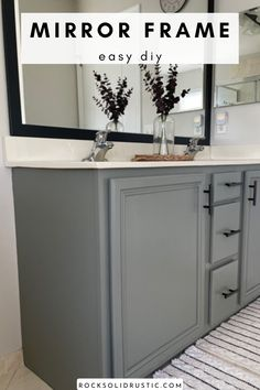 Quick and affordable way to update your bathroom on a budget. Give you bathroom an easy makeover with a DIY mirror frame. #mirrorframe #bathroommirror #bathroommakeover