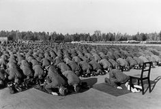 The image above is that of German Nazi-era Muslim soldiers in prayer. They are from the German 13th Waffen-Gebirgs-Division der SS Handschar, a full Muslim division of the German army. The unit, which mostly consisted of Bosnian Muslims, was formed in March 1943 after Germany conquered Croatia, which included Bosnia-Herzegovina. The Bosnian Muslims were accepted into the Nazi ranks because of Heinrich Himmler's belief that the people of Croatia were of Aryan descent, not Slavic.