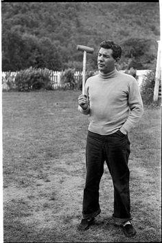 Leonard Bernstein [Leonard Bernstein with a croquet mallet.]