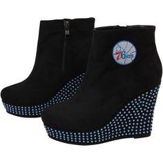 Cuce Shoes Philadelphia 76ers Women's Rookie Wedge Boots - Black - $54.99