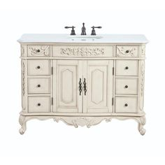 Home Decorators Collection Winslow 48 in. W Vanity in Antique White with Marble Vanity Top in White with White Basin