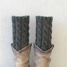 Knit Cable Leg Warmers CHARCOAL TWEED Leg Warmers by AlbadoFashion
