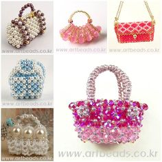 DIY Cute Miniature Beaded Handbags and tutorials Beaded Boxes, Beaded Purses, Beaded Jewelry, Bridal Handbags, Pink Handbags, Zipper Flowers, Beaded Flowers, Beading Patterns Free, Purse Patterns