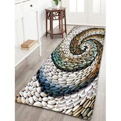 Bathroom Flannel Whirlwind Pebbles Printed Skidproof Rug