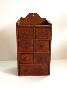 Antique Primitive Spice Cabinet, Chest - 7 Drawer Apothecary Cabinet