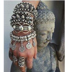 Beautiful stacked metal bracelets