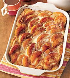 Overnight Peaches-and-Cream French Toast Recipe Breakfast and Brunch with french… Breakfast And Brunch, Breakfast Dishes, Breakfast Casserole, Breakfast Recipes, Morning Breakfast, Overnight Breakfast, Breakfast Ideas, Breakfast Healthy, Breakfast Dessert