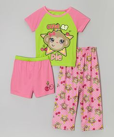 Take a look at this Pink & Green 'Cute As Pie' Pajama Set - Girls on zulily today!