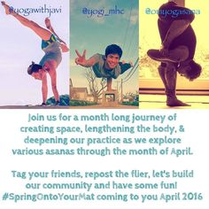 I am VERY excited to announce that my friends @omyogasana @yogawithjavi & I are hosting an Instagram yoga challenge in April 2016. In honor of the season of spring and the new beginnings and possibilities it brings we will offer you 30 days of challenging asanas from hip openers to backbends to arm balances (and everything in between). All levels are welcome to join us! We encourage you to modify and/or be creative as you wish!  Sponsors and prizes will be announced as the challenge draws…