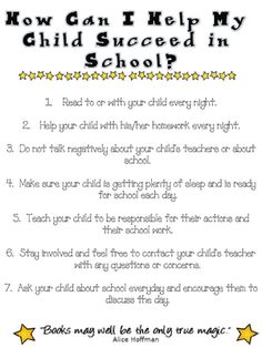*PRINTED* Good to include in Parent Newsletter (more great stuff on this website)
