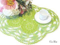 Crochet Green Doily Handmade Doily Table by CreArtebyPatty on Etsy
