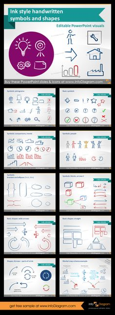 Awesome ink shapes, hand-drawn clipart to make organic presentations which look like crafted on the paper. Make awesome #PowerPoint presentations which do not look boring. Fully editable without losing quality. Arrows, charts, question mark, exclamation, idea icon (bulb) and much more! #template #cliparts #ink