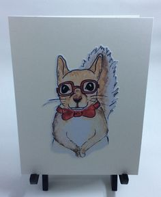 A personal favorite from my Etsy shop https://www.etsy.com/listing/510222169/hipster-squirrel-card