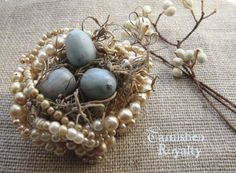 Pearl nest for Spring decor. Love this!  I am going to have to try to make this one.