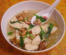 Easy Thai Chicken Noodle Soup from Food.com:   Makes for a very filling and easy soup with very few calories!  If you haven't tried rice noodles before, give this recipe a whirl.