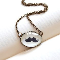 I SO WANT!!! Mustache Necklace Antique Brass and Glass Dome by JujuTreasures, $18.00