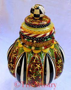 Items similar to Large ~ Hand Painted ~ French Red ~ Red ~ Red & Yellow ~ Bumble Bee ~ Cookie Jar ~ Biscuit Jar ~ Treat Jar ~ Kitchen Decor ~ Red Cookie Jar on Etsy Painted Vases, Hand Painted, Bee Cookies, Red Kitchen Decor, Beaded Garland, Assemblage Art, Red Background, Black White Stripes, Hand Blown Glass