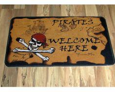 """Door Mat - """"Pirates Welcome Here"""" 30"""" x 40"""" rubber backed decorative floor mat."""