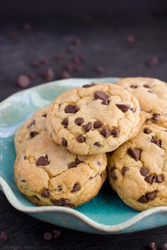 Soft and thick chocolate chip cookies loaded with chocolate chips. You'll never guess what secret ingredient makes these cookies extra yummy!