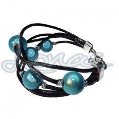 Pulsera de cordón de cuero negro con perlas color turquesa - Lonac Bisutería Artesanal