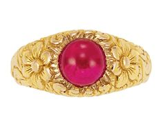 Antique Two-Color Gold and Cabochon Ruby Ring   Yellow & rose gold, one round cabochon ruby ap. 1.75 cts., with maker's mark, c. 1900, ap. 3 dwt