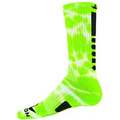 size 40 ed706 a0d97 Red Lion Maxim Tie Dye Athletic Socks ( Neon Green  White - Large )