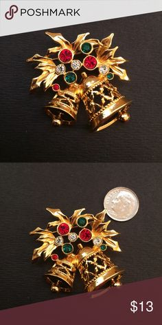 Vintage Christmas Bells 🔔 Brooch In excellent condition Jewelry Brooches