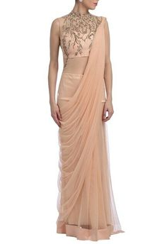 Peach embellished saree gown Indian Wedding Sari, Wedding Dresses Men Indian, Indian Gowns Dresses, Black Prom Dresses, Pretty Dresses, Dresses For Work, Casual Frocks, New Designer Dresses, Saree Gown