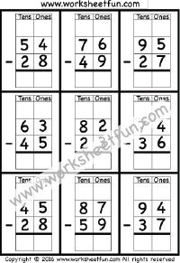 2 Digit Borrow Subtraction – Regrouping – 6 Worksheets