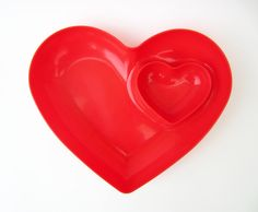 Double HEART dishred hard plasticaperitif party by LeFrenchBazaar