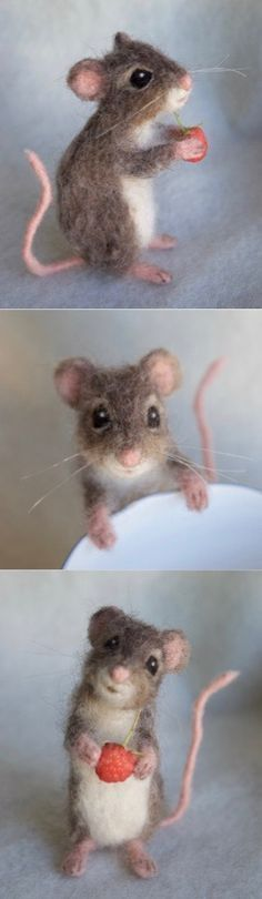 10/06/17 6:31p Mouse Red Ball of Yarn Life Sized Needle Felt Mouse claudiamariefelt.etsy.com #needlefeltingtutorials