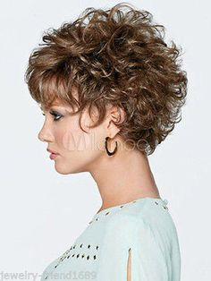 New-wig-Fashion-Dark-Brown-Mix-Short-Curly-Womans-Hair-Wigs