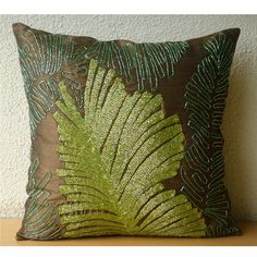 RainForest - Throw Pillow Covers - 18x18 Inches Silk Pillow Cover with Sequin Embroidery