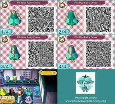 Pet Society Blue Fairy Dress Animal Crossing QR code. #savepetsociety