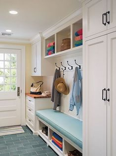 Little mudroom ideas Buy Domino for the top brands in home decor and be inspired by celebrity houses and famous interior designers. Domino is your guide to living in style. Small Mudroom Ideas, Entryway Ideas, Hallway Ideas, Mudroom Storage Ideas, Entryway Decor, Hallway Storage, Garage Storage, Diy Storage, Basement Ideas