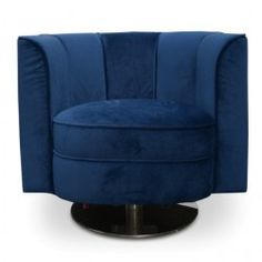 Molly Armchair in Velvet Blue With Steel Base