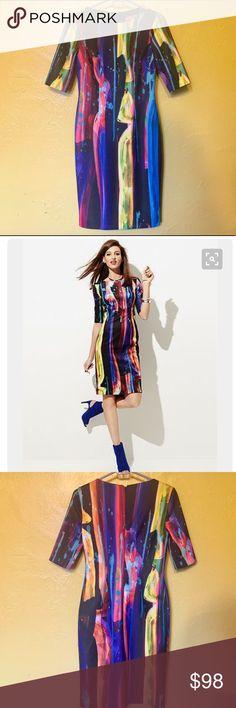 Betsey Johnson elbow sleeve paint splatter dress Betsey Johnson elbow sleeve paint splatter sheath dress. Bright beautiful pigments & ready to wear! Betsey Johnson Dresses