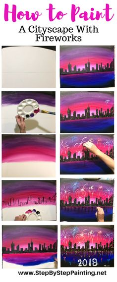 New Years Painting. Full Tutorial! Step by step painting of Cityscape with Fireworks. Tracie's Acrylic canvas painting tutorials.#stepbysteppainting #newyearsevepainting #newyearseve