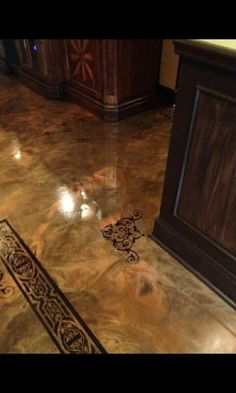 Epoxy floor with  Stencil Corner Piece , New Iberia , LA