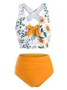 OFF] Striped Sunflower Print One Shoulder Flounce Overlay Tankini Swimwear Women's Plus Size Swimwear, Cute Bathing Suits, Vintage Bathing Suits, Cute Swimsuits, Vintage Swimsuits, Women Swimsuits, Swimwear Fashion, Women's Swimwear, Trendy Clothes For Women
