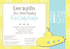 Yellow Submarine Baby Shower Invitation by notablynoted on Etsy, $1.95