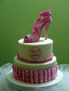 Birthday cake with gumpaste shoe topper