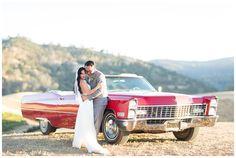 Bride and Groom Portrait Red Classic Old Car | Taber Ranch Wedding - Capay Wedding Photographer - Ricky&Anjelica - Chico California Wedding Photography and Videography by Chico Photographer Videographer Couple TréCreative