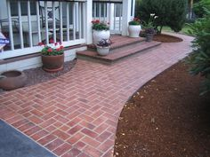 "porch, keep pretty stone parts for contrast, rest brick. New pathway not brick. ""Brick"" grouted look stamped concrete Concrete Patios, Stamped Concrete Walkway, Stencil Concrete, Brick Walkway, Front Walkway, Concrete Bricks, Front Steps, Brick Patios, Decorative Concrete"