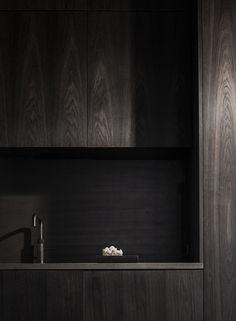 Contemporary Dark Wood Kitchen by Norm Architects Contemporary Interior Design, Interior Design Living Room, Interior Decorating, Interior Modern, Modern Contemporary, Modern Design, Dark Wood Kitchens, Kitchen Stories, Dark Interiors